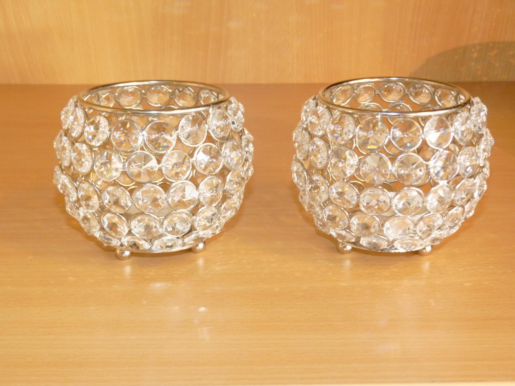 Kristall Kerzenstander Kugel 10 Cm 4er Set Teelichthalter Kerzenhalter Teelichthalter Bling Bling Tafel Hochzeit Tischdeko Gastgeschenke Silber