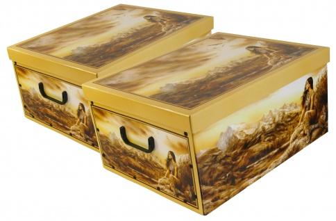 """Ordnungsboxen Deko Karton 2er Set Box Clip """"Indianer"""" Aufbewahrungsbox"""