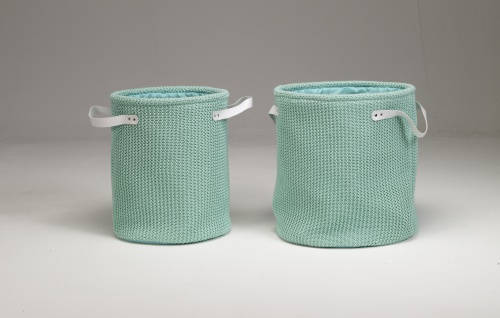 Artra Design 2er Set Strickkörbe L Mint Aufbewahrungskörbe Griffen Strick-Optik Aufbewahren