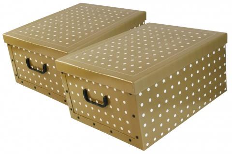 """Ordnungsboxen Deko Karton 2er Set Box Clip """"Punkte"""" Aufbewahrungsbox"""