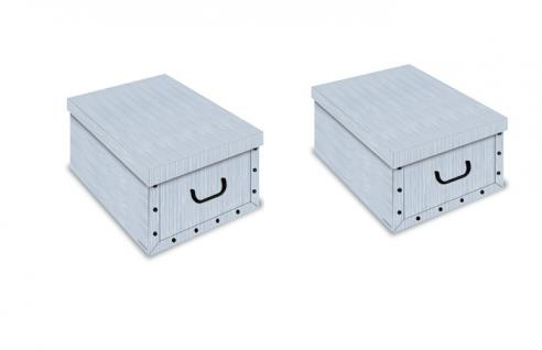 Ordnungsboxen Deko Karton 2er SET Box Clip Azzurro Aufbewahrungsbox für Haushalt Büro Wäsche Geschenkbox Dekokarton Sammelbox Mehrzweckbox Ordnungskarton Ordnungsbox Geschenkekarton