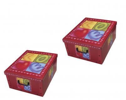 Ordnungsboxen Deko Karton Box Clip Sweetheart 2er SET Aufbewahrungsbox für Haushalt Büro Wäsche Geschenkbox Dekokarton Sammelbox Mehrzweckbox Ordnungskarton Ordnungsbox Geschenkekarton