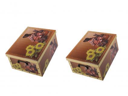 Ordnungsboxen Deko Karton 2er SET Box Clip Unsere Sonnenschein Aufbewahrungsbox für Haushalt Büro Wäsche Geschenkbox Dekokarton Sammelbox Mehrzweckbox Ordnungskarton Ordnungsbox Geschenkekarton
