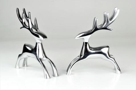 "Deko Hirsche ""Dasher"" aus Aluminium im 2er Set Skulpturen,"