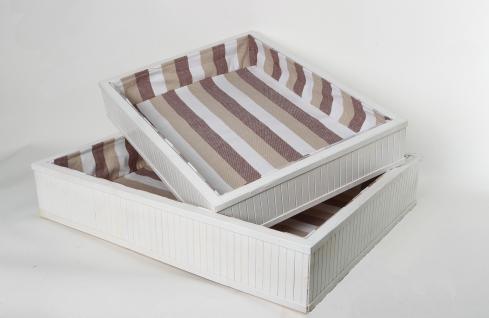2er Set Tabletts, Körbe Bambus weiß Rechteckig Aufbewahrung Ordnungshelfer Geschenkeboxen Regalaufbewahrung Aufbewahrungskorb Regalkorb