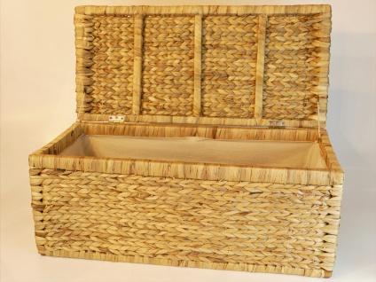 Geflecht Truhe mit Klappdeckel 80 cm, natur atmungsaktiv Aufbewahrungsbox mit Deckel Aufbewahrungskiste Aufbewahrungstruhe Wäschetruhe Auflagenbox