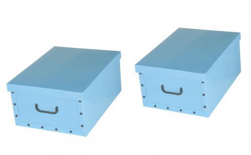 Ordnungsboxen Deko Karton 2er Set Box Clip Hellblau Aufbewahrungsbox für Haushalt Büro Wäsche Geschenkbox Dekokarton Sammelbox Mehrzweckbox Ordnungskarton Ordnungsbox Geschenkekarton