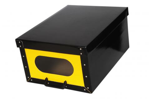 Deko Karton Ordnungsboxen Handbox Bauli schwarz-gelb Aufbewahrungsbox
