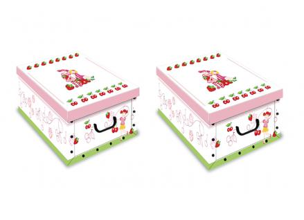 Ordnungsboxen Deko Karton 2er SET Box Clip Ciliegia Aufbewahrungsbox für Haushalt Büro Wäsche Geschenkbox Dekokarton Sammelbox Mehrzweckbox Ordnungskarton Ordnungsbox Geschenkekarton