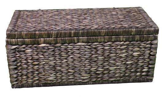 Geflecht Truhe mit Klappdeckel 80 cm, braun atmungsaktiv Aufbewahrungsbox mit Deckel Aufbewahrungskiste Aufbewahrungstruhe Wäschetruhe Auflagenbox