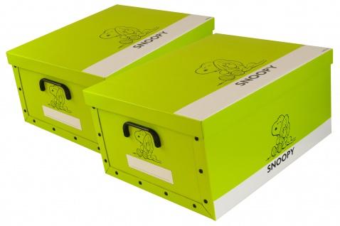 """Ordnungsboxen Deko Karton 2er Set Box Clip """"Snoopy Hellgrün"""" Aufbewahrungsbox"""