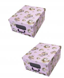 Ordnungsboxen Deko Karton Box Clip Rosa dream mit Fenster 2er SET Aufbewahrungsbox für Haushalt Büro Wäsche Geschenkbox Dekokarton Sammelbox Mehrzweckbox Ordnungskarton Ordnungsbox Geschenkekarton