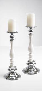 Kerzenständer weiß S 2er SET Kerzenhalter Kerzenleuchter Bodenkerzenständer Kerzenleuchter Tischdeko Gastgeschenke