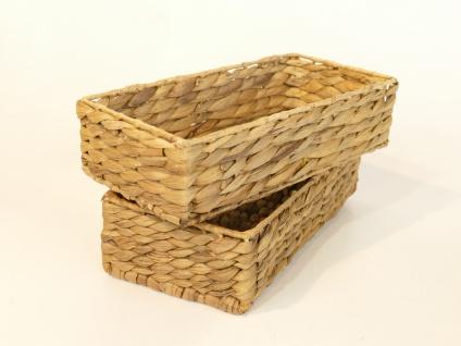 Besteckkörbe 2er Set aus Wasserhyazinthe natur atmungsaktiv Aufbewahrungsbox Kosmetikkorb 32/16/8 cm