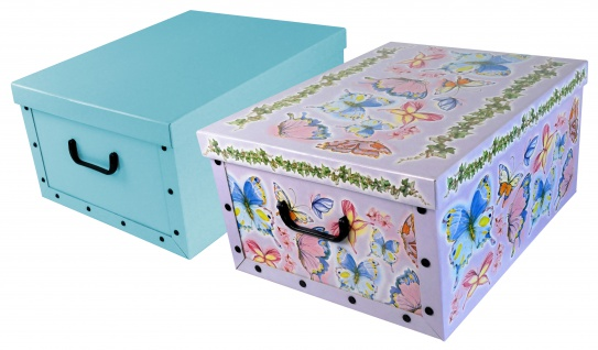 """Ordnungsboxen Deko Karton 2er Set Box Clip """"Schmetterlinge"""" und Hellblau Aufbewahrungsbox"""