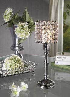 Kristall Kerzenständer Louise L 27 cm Teelichthalter Kerzenhalter Kerzenleuchter Tischdeko Gastgeschenke silber - Vorschau 2