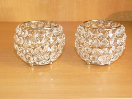 Kristall Kerzenständer Kugel 10 cm 4er Set Teelichthalter Kerzenhalter Teelichthalter Bling Bling Tafel Hochzeit Tischdeko Gastgeschenke silber - Vorschau 3
