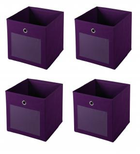 Ordnungsboxen FABIO Violett 4er SET Aufbewahrungsbox Stoff Aufbewahrungskorb Faltbar Spielzeugkiste Einschubkorb Regalbox Stoffbox Faltbox Regaleinsatz