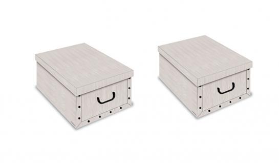 Ordnungsboxen Deko Karton 2er SET Box Clip Millerighe beige Aufbewahrungsbox für Haushalt Büro Wäsche Geschenkbox Dekokarton Sammelbox Mehrzweckbox Ordnungskarton Ordnungsbox Geschenkekarton