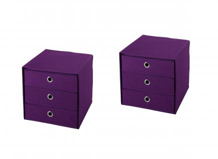 Ordnungsboxen Schubbox DAFINO Violett 2er SET Aufbewahrungsbox Stoff Aufbewahrungskorb Faltbar Spielzeugkiste Einschubkorb Regalbox Stoffbox Faltbox Regaleinsatz
