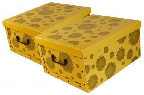 "Ordnungsboxen Deko Karton 2er Set Box Clip Gelb ""Mandala Blumen Grau"""