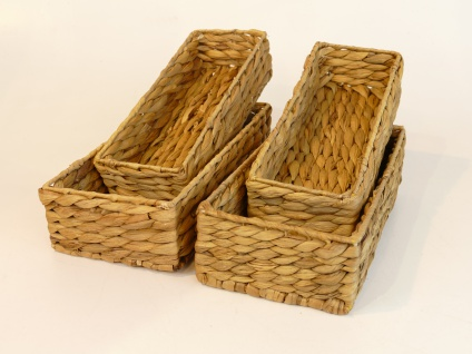 """Besteckkörbe """"Ola"""" 4er Set aus Wasserhyazinthe natur atmungsaktiv Aufbewahrungsbox Kosmetikkorb 32/16/8 cm und 30/12/7 cm"""