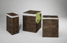 Wäschebehälter 3er Set Wasserhyazinthe braun, Wäschekörbe Wäschesammler Wäschebehälter Wäschetruhe Aufbewahrungsbox mit Deckel Aufbewahrungskiste Aufbewahrungstruhe Wäschetruhe