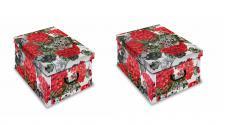 Ordnungsboxen Deko Karton Clip 2er SET Motiv Romantik Aufbewahrungsbox für Haushalt Büro Wäsche Geschenkbox Dekokarton Sammelbox Mehrzweckbox Ordnungskarton Ordnungsbox Geschenkekarton