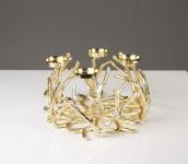 Aluminium Kerzenständer LILY - 4 Teelichthalter in GOLD , Kerzenhalter, Kerzenleuchter, Tischdeko und Gastgeschenk