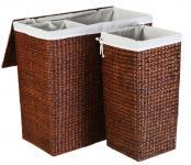 Wasserhyazinthe Wäschekörbe braun 3er Set mit Stoff, Wäschetruhe, Wäschekorb, Wäaschsammler