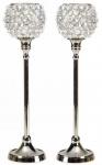 Kristall Kerzenständer Marie M 2er SET Teelichthalter Kerzenhalter Kerzenleuchter Tischdeko Gastgeschenke silber