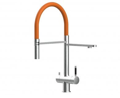 orange 3 wege Edelstahl gebürstet Küchenmischer Wasserhahn für Filtersysteme m. 2strahl Handbrause