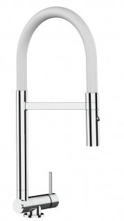 Chrom Küchenmischer mit weiß schwenkbarem Auslauf und abnehmbarer 2 strahl Handbrause - Gesamthoehe nur 4, 5 cm
