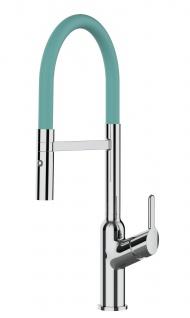 Design Küchenarmatur chrom Wasserhahn mit 360° schwenkbarem Auslauf und 2 strahl Handbrause - Brauseschlauch in Türkis