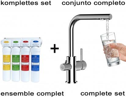 Vollständiges Wasserfilter system + VZFL011100 3-wege Küchenarmatur Chrom Wasserhahn