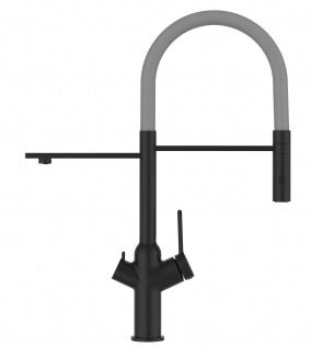 Matt-Schwarz 3 Wege Küchenmischer für Filtersysteme mit grau schwenkbarem Auslauf und abnehmbarer 2strahliger Handbrause