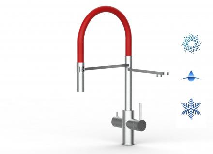 rot 5 wege Edelstahl gebürstet Küchenmischer Wasserhahn Armatur - abnehmbarer 2strahl Brause