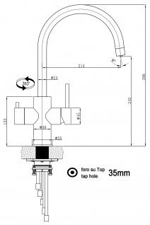 5 wege Edelstahl Küchenmischer Wasserhahn Armatur für Filtersysteme - Edelstahl Hochglanz - Vorschau 2