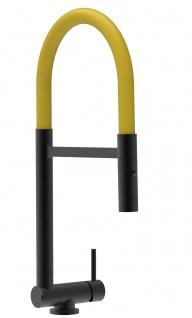 Chrom schwarz matt Küchenmischer mit gelb schwenkbarem Auslauf und abnehmbarer 2 strahl Handbrause - Gesamthoehe nur 4, 5 cm