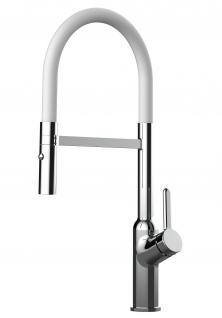 Design Küchenarmatur chrom Wasserhahn mit 360° schwenkbarem Auslauf und 2 strahl Handbrause - Brauseschlauch in Weiß