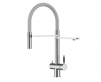 grau 3 wege Edelstahl Hochglanz Küchenmischer Wasserhahn für Filtersysteme m. 2strahl Handbrause