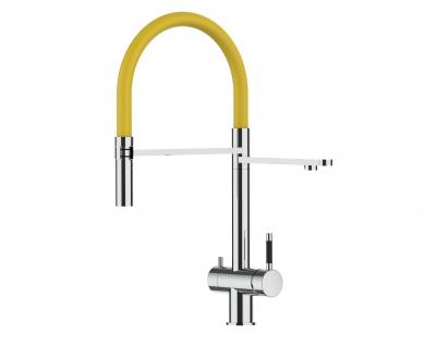 gelb 3 wege Edelstahl Hochglanz Küchenmischer Wasserhahn für Filtersysteme m. 2strahl Handbrause