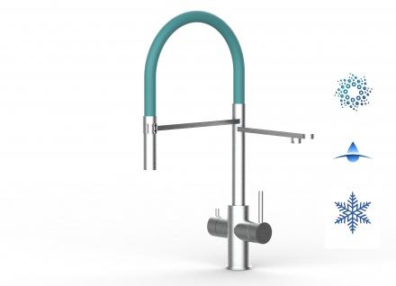 türkis 5 wege Edelstahl gebürstet Küchenmischer Wasserhahn Armatur - abnehmbarer 2strahl Brause