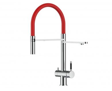 rot 3 wege Edelstahl Hochglanz Küchenmischer Wasserhahn für Filtersysteme m. 2strahl Handbrause