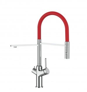 3 wege Küchenmischer fuer alle gaengigen filtersysteme geeignet mit rot abnehmbarer 2 strahliger Handbrause