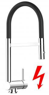 schwarz NIEDERDRUCK Küchenarmatur Edelstahl-Stahlfeder Chrom - 2 strahl Handbrause, Küchenmischer Unterfenster, Abklappbare, Absenkbare, Vorfenster, Spültischarmatur, Spülenmischer, Wasserhahn Küche, Vorfenstermontage, nur 6cm hoch, direkt vom Hersteller,