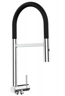 Chrom Küchenmischer mit schwarz schwenkbarem Auslauf und abnehmbarer 2 strahl Handbrause - Gesamthoehe nur 4, 5 cm