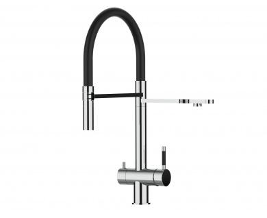 schwarz 3 wege Edelstahl Hochglanz Küchenmischer Wasserhahn für Filtersysteme m. 2strahl Handbrause