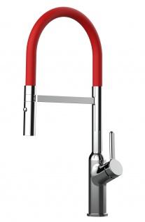 Design Küchenarmatur chrom Wasserhahn mit 360° schwenkbarem Auslauf und 2 strahl Handbrause - Brauseschlauch in Rot