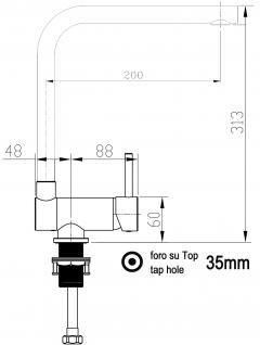 NIEDERDRUCK Unterfenster Vorfenster Armatur Wasserhahn Küche abschwenbar auf nur 58mm - Granit Schwarz - Vorschau 2